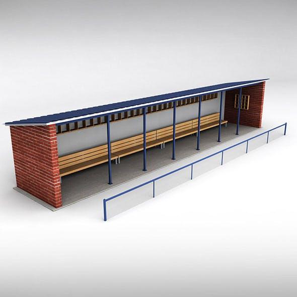 Baseball stadium dugout bench
