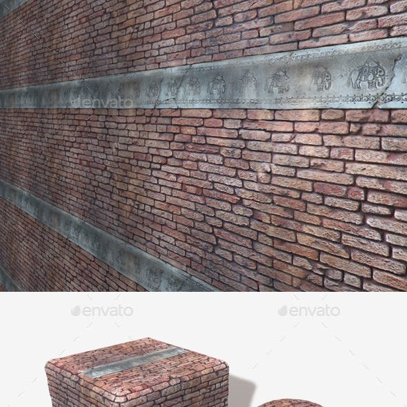 Carved Elephant Brick Wall Seamless Texture.