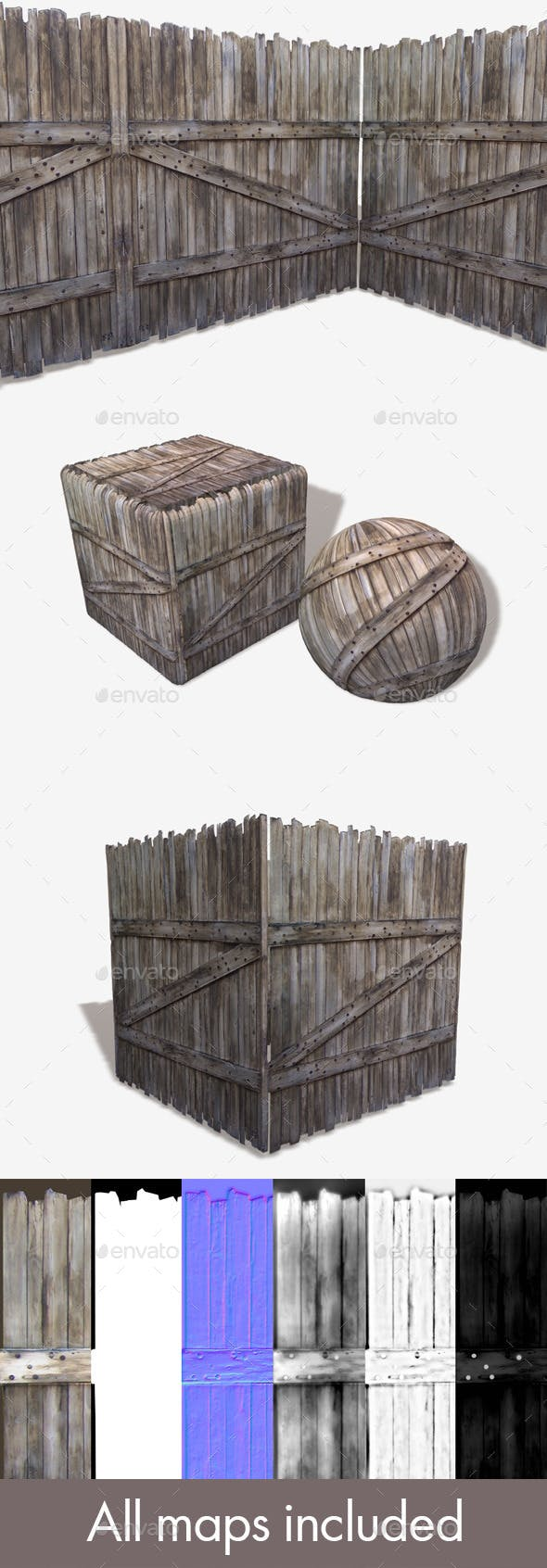 Tall Wooden Gate Seamless Texture - 3DOcean Item for Sale