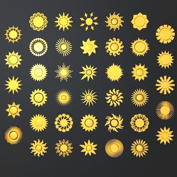 Summer Sun Symbols - 3DOcean Item for Sale