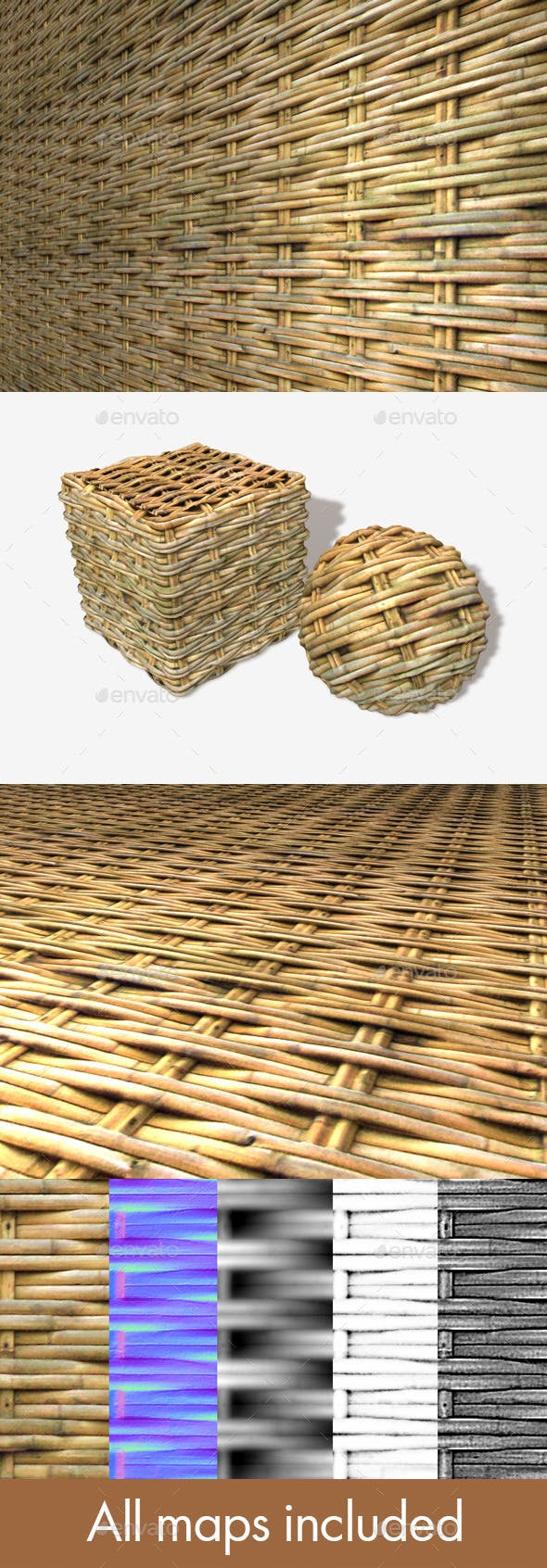 Woven Bamboo Seamless Texture - 3DOcean Item for Sale