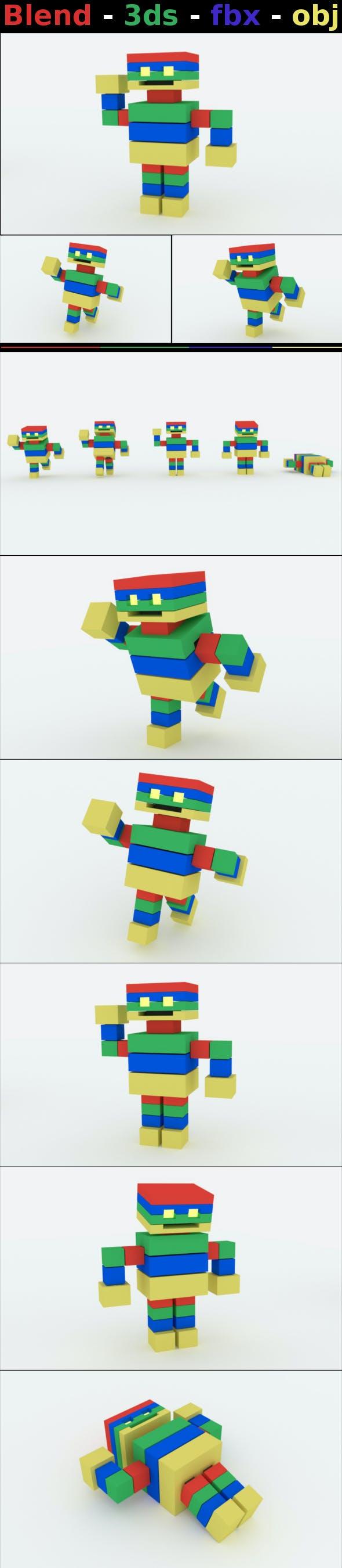 Cube Robot - 3DOcean Item for Sale