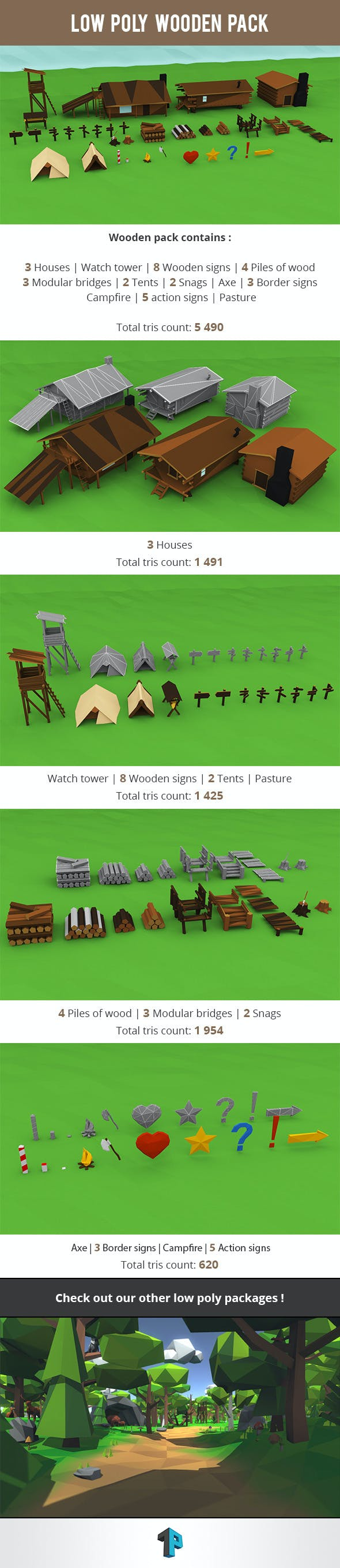 Low Poly Wooden Package - 3DOcean Item for Sale