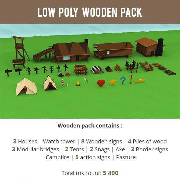 Low Poly Wooden Package