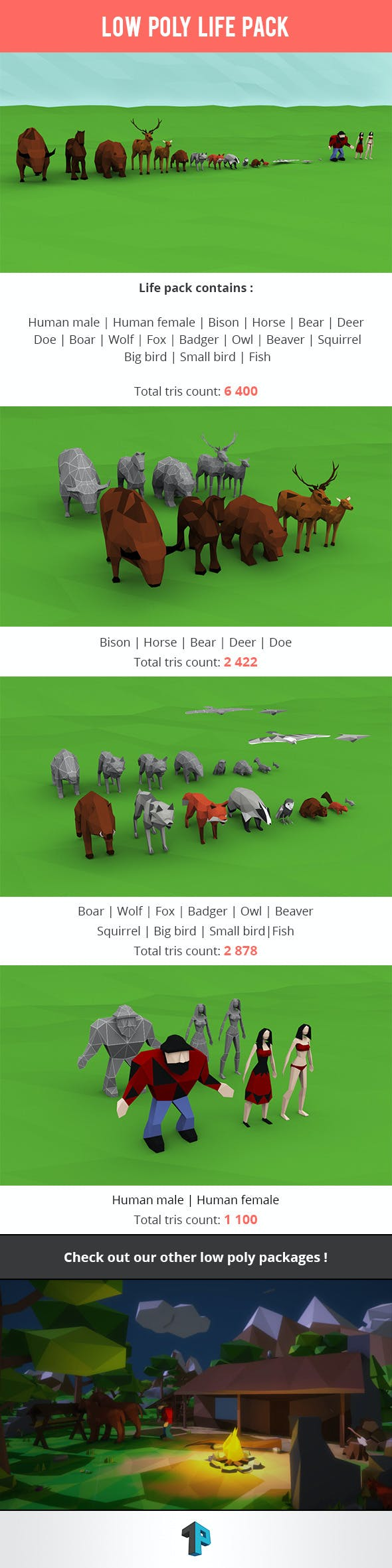 Low Poly Life Package - 3DOcean Item for Sale