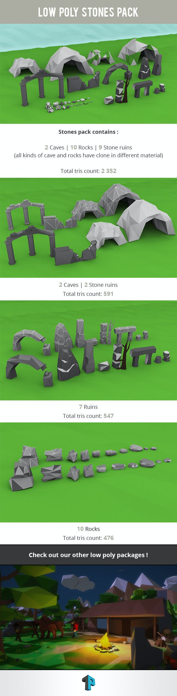 Low Poly Stones Package - 3DOcean Item for Sale