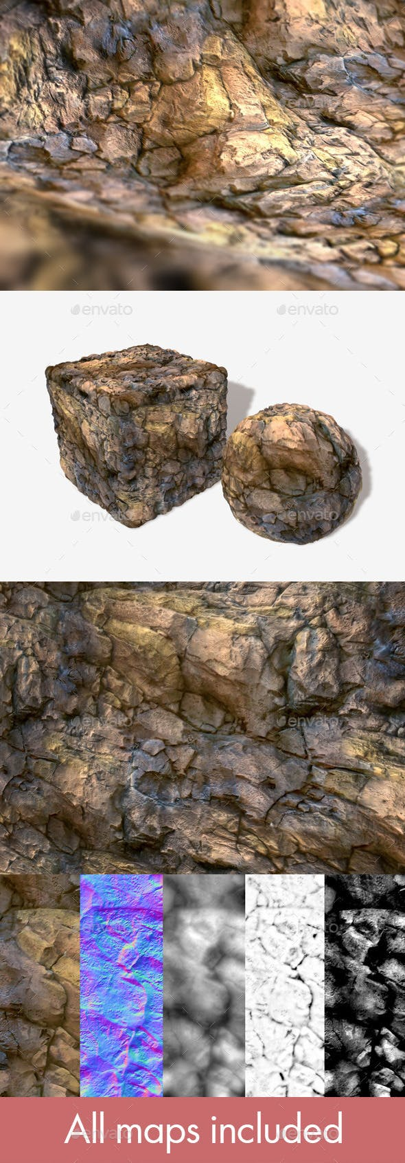 Red Rock Seamless Texture - 3DOcean Item for Sale