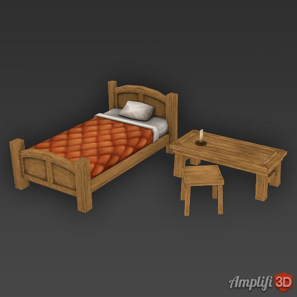 Low Poly Cartoon Bed Set
