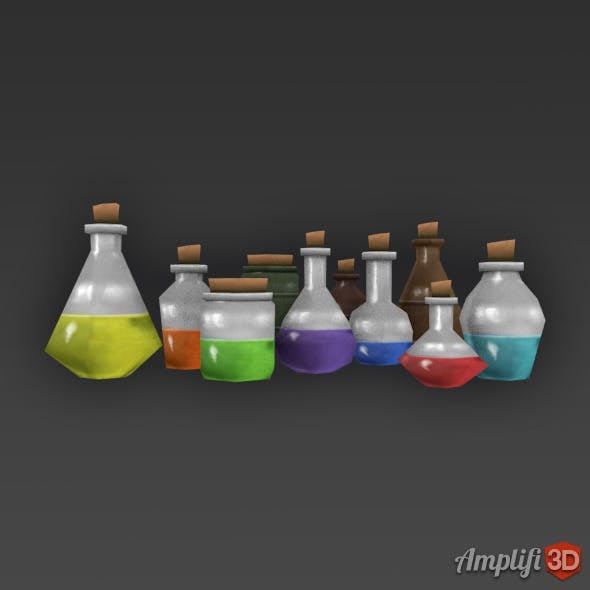 Low Poly Cartoon Potion Bottles