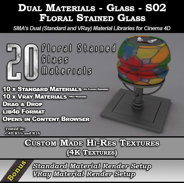 SMA's Dual Materials - Glass - S02 - Floral - 3DOcean Item for Sale