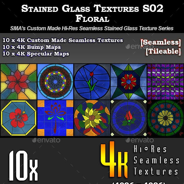 Hi-Res Stained Glass Textures - S02 - Floral