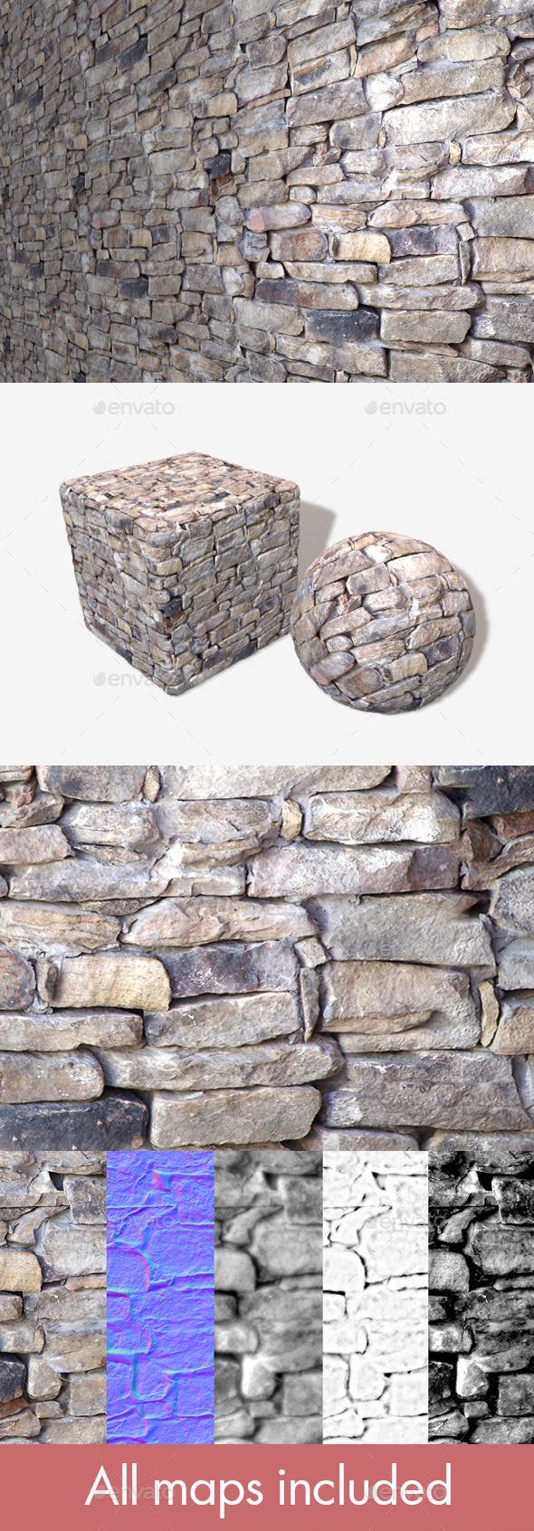 Traditional Rock Wall Seamless Texture - 3DOcean Item for Sale