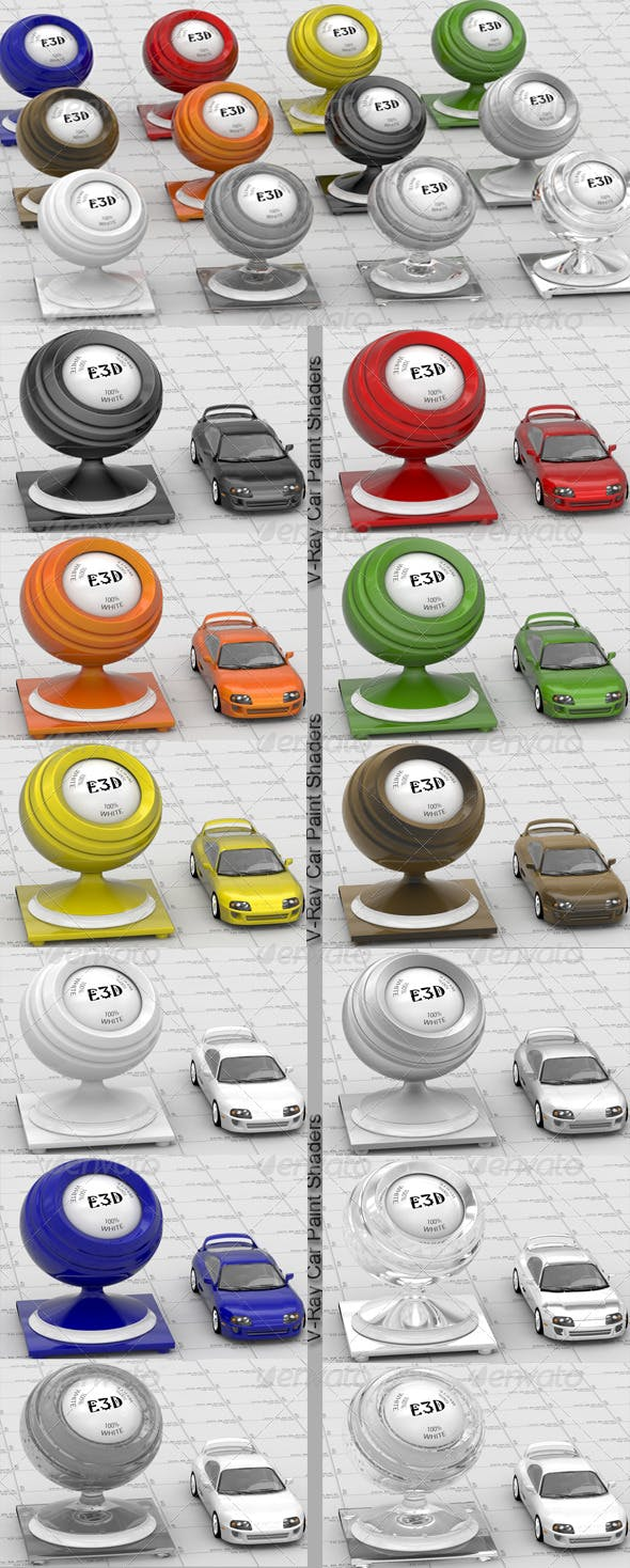 12 V-Ray Car Paint shaders - 3DOcean Item for Sale
