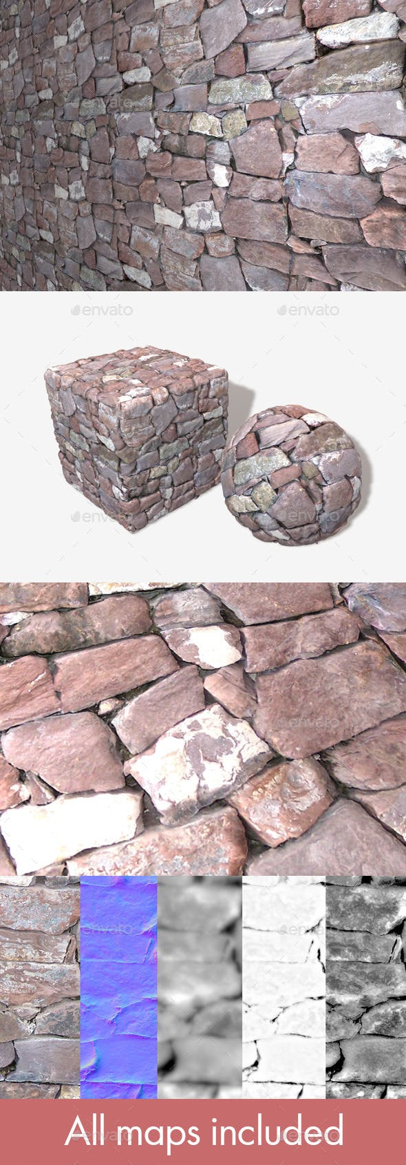 Purple Stone Wall Seamless Texture - 3DOcean Item for Sale