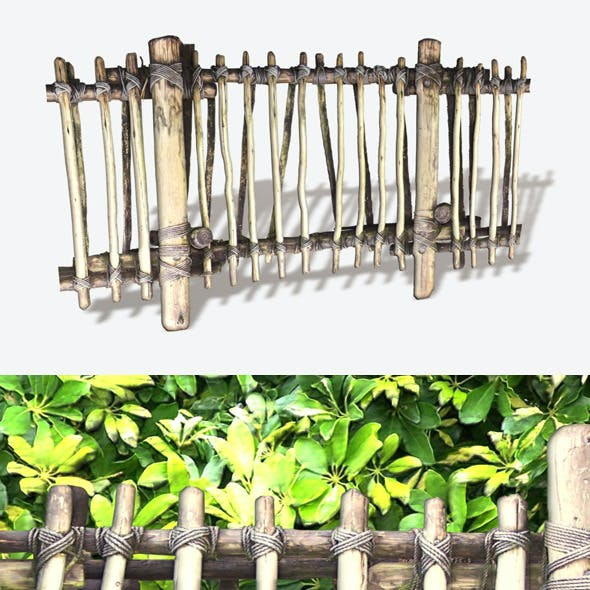 Jungle Fence Seamless Low Poly