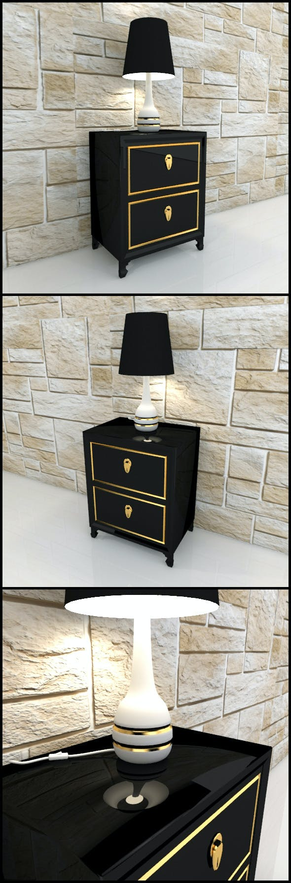 Oriental bedside table with lamp - 3DOcean Item for Sale