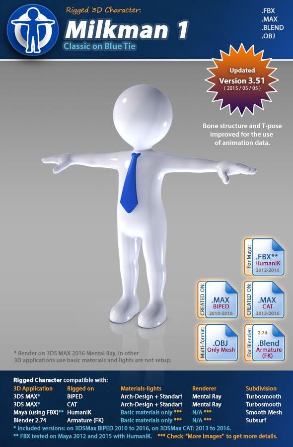 Milkman 1 - Classic on Blue Tie   - 3DOcean Item for Sale