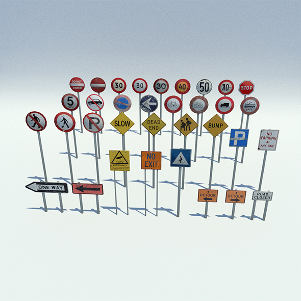 Low Poly Road Sign Pack - 3DOcean Item for Sale
