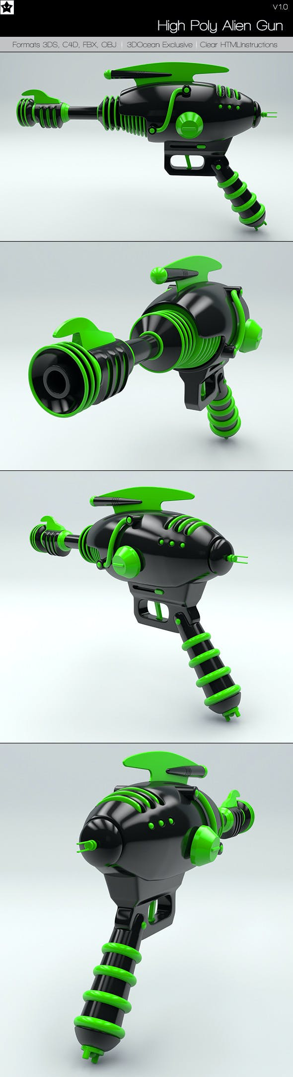 High Poly Alien Gun - 3DOcean Item for Sale