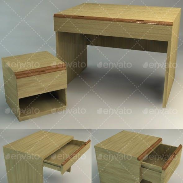 Bedside Table and Desk - Set
