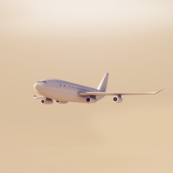 Cartoon Low Poly AirBus