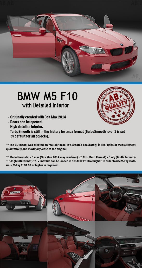 BMW F10 M5 (with Detailed Interior) Vray by ahAlbahar | 3DOcean