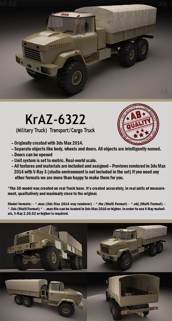 Military Truck (KrAZ-6322 Transport/Cargo) - 3DOcean Item for Sale