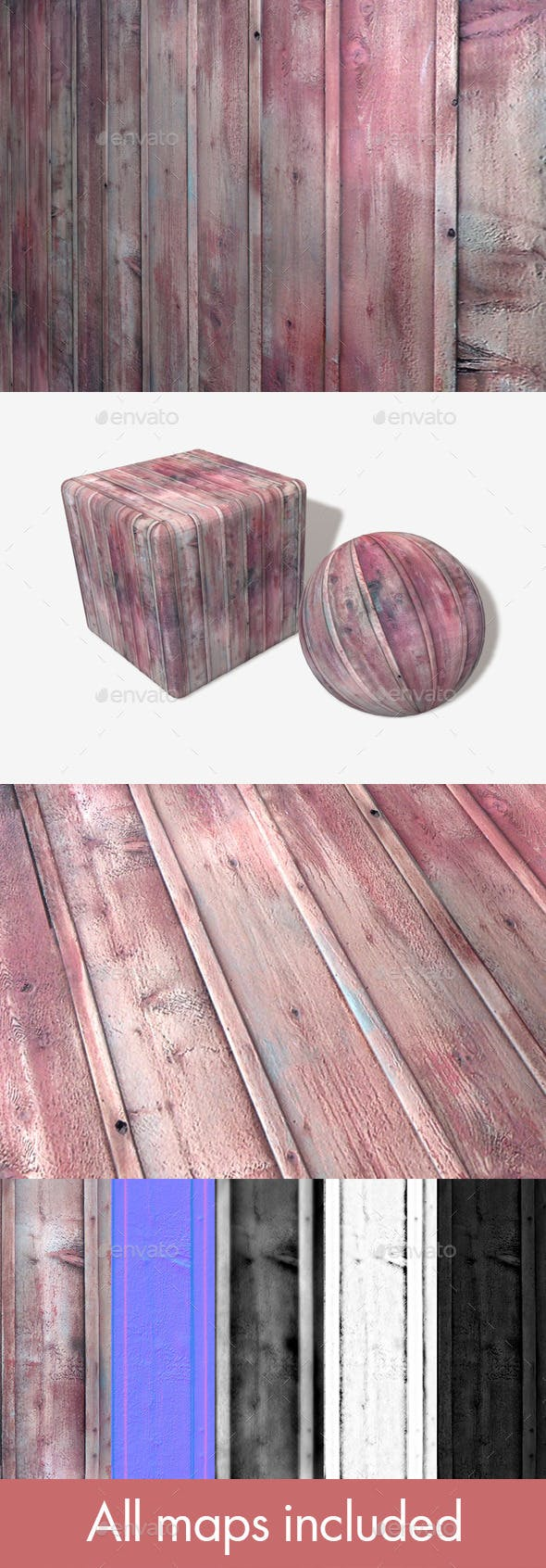 Red Wood Planks Seamless Texture - 3DOcean Item for Sale
