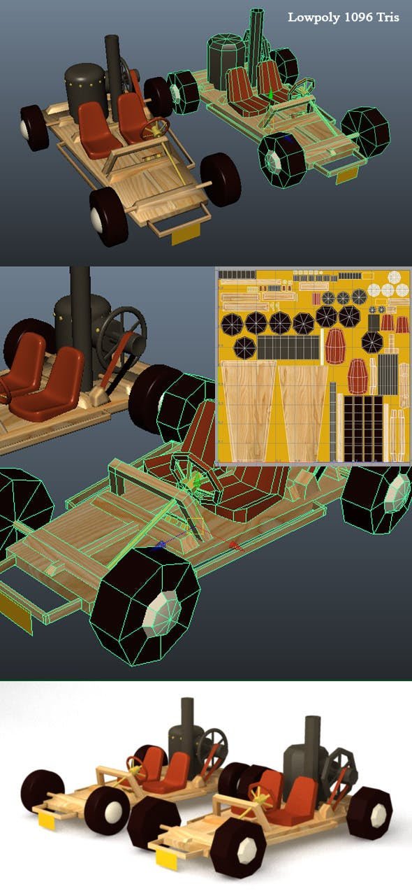 3D Steam Kart Model - 3DOcean Item for Sale