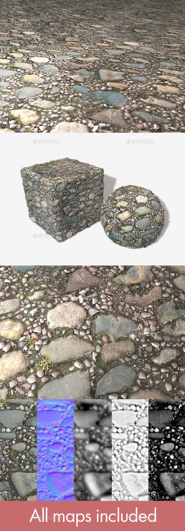 Stone Pavement Seamless Texture - 3DOcean Item for Sale