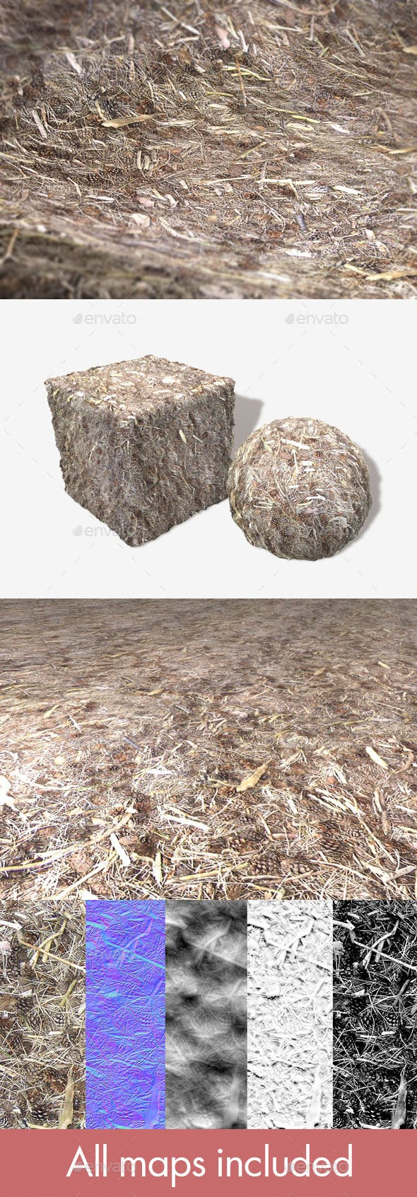 Pine Cones and Twigs Seamless Texture - 3DOcean Item for Sale