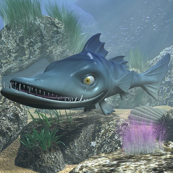 cartoon Barracuda Fish RIGGED