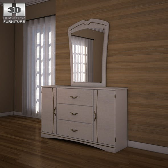 Ashley Havianna Dresser & Mirror - 3D model. - 3DOcean Item for Sale