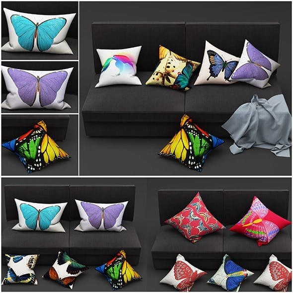 Butterfly pillow - 3DOcean Item for Sale