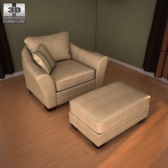 Ashley Lena - Putty Oversized Chair - 3D Model. - 3DOcean Item for Sale