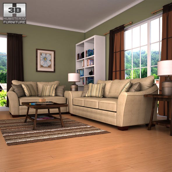 Ashley Lena - Putty Sofa & Loveseat Set - 3DOcean Item for Sale