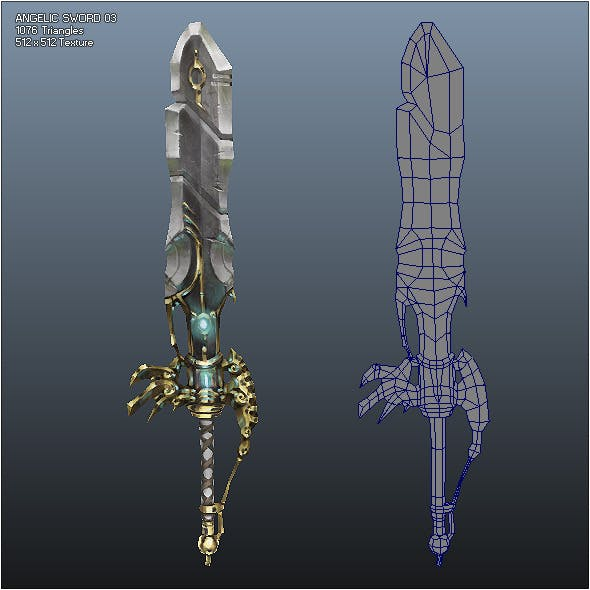 Low Poly Crusader Angelic Sword 03