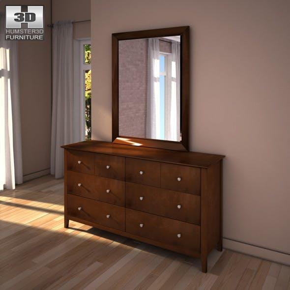 Ashley Nico Dresser & Mirror - 3D model. - 3DOcean Item for Sale