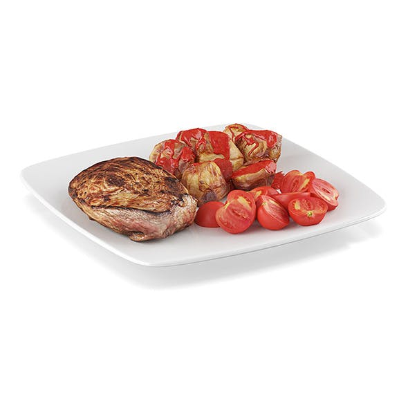 Steak with baked potatoes - 3DOcean Item for Sale
