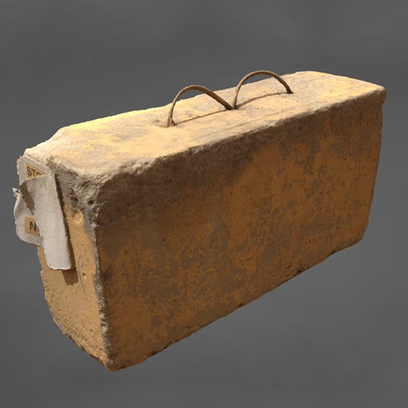 Concrete Block with Sign - 3DOcean Item for Sale