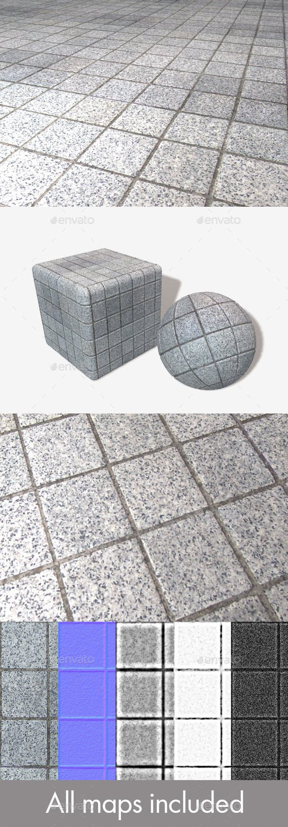 Outdoor Square Floor Tiles Seamless Texture - 3DOcean Item for Sale