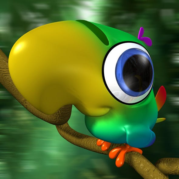 Cartoon Parrot Rigged