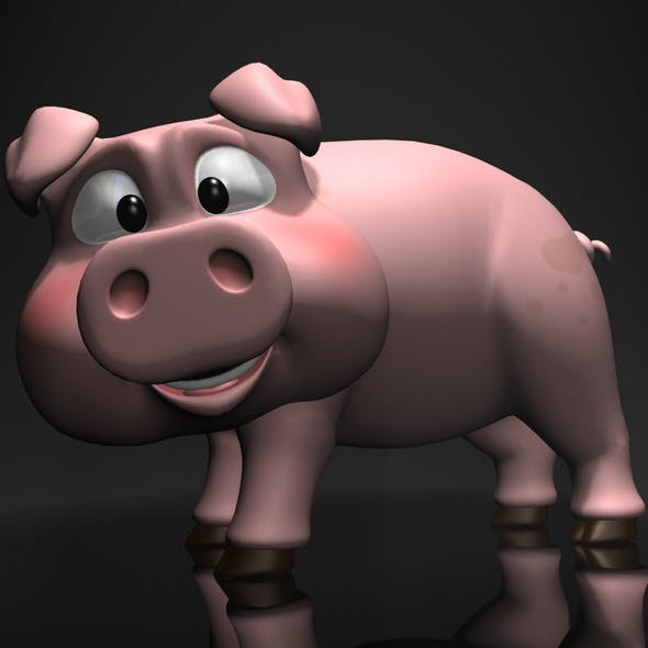 Cartoon Pig Rigged - 3DOcean Item for Sale