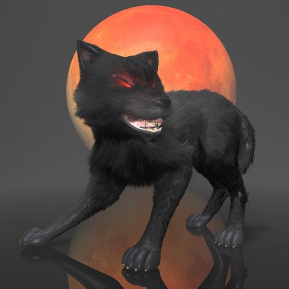 Dark Wolf Rigged