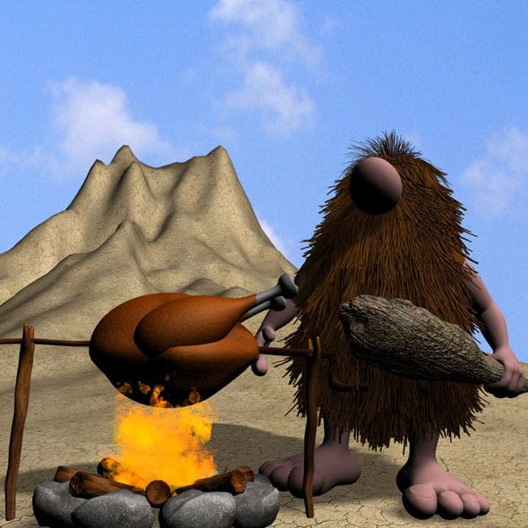 Cartoon Caveman Character Rigged