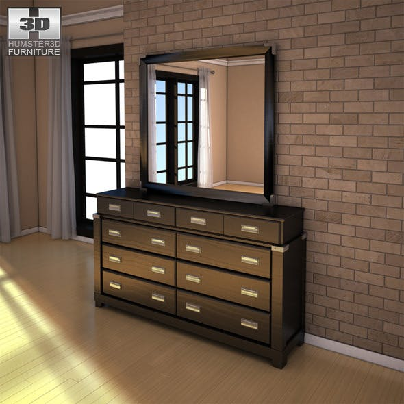 Ashley Diana Dresser & Mirror - 3D model. - 3DOcean Item for Sale