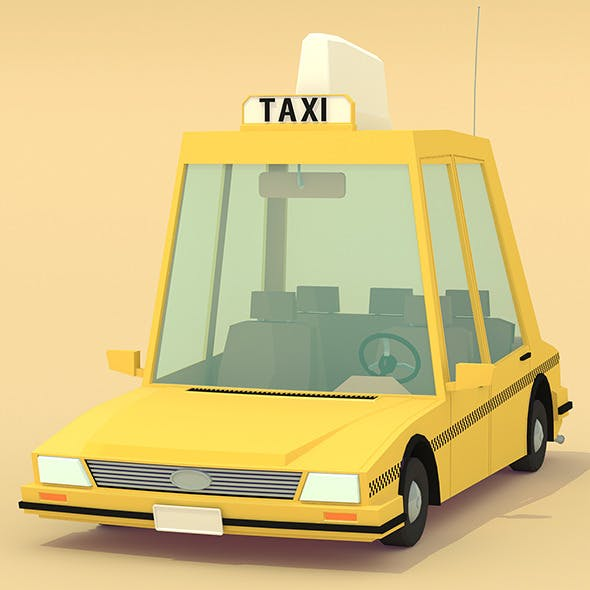 Low poly yellow cab