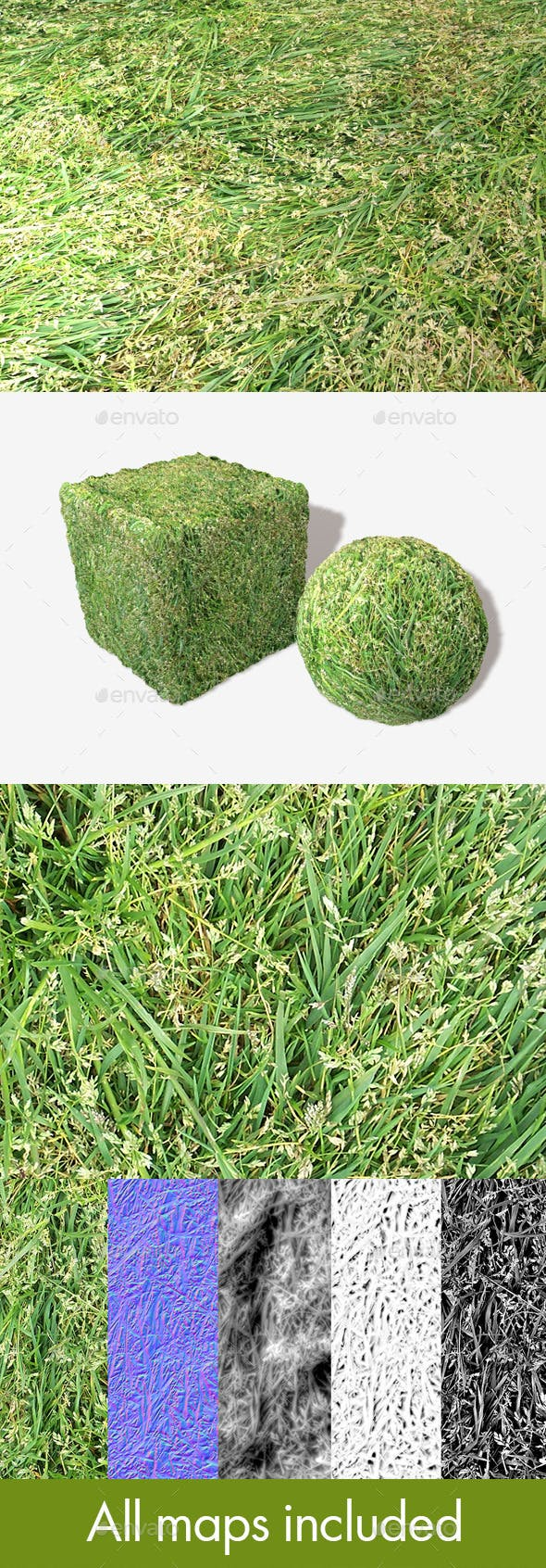 Long Trampled Grass Seamless Texture - 3DOcean Item for Sale