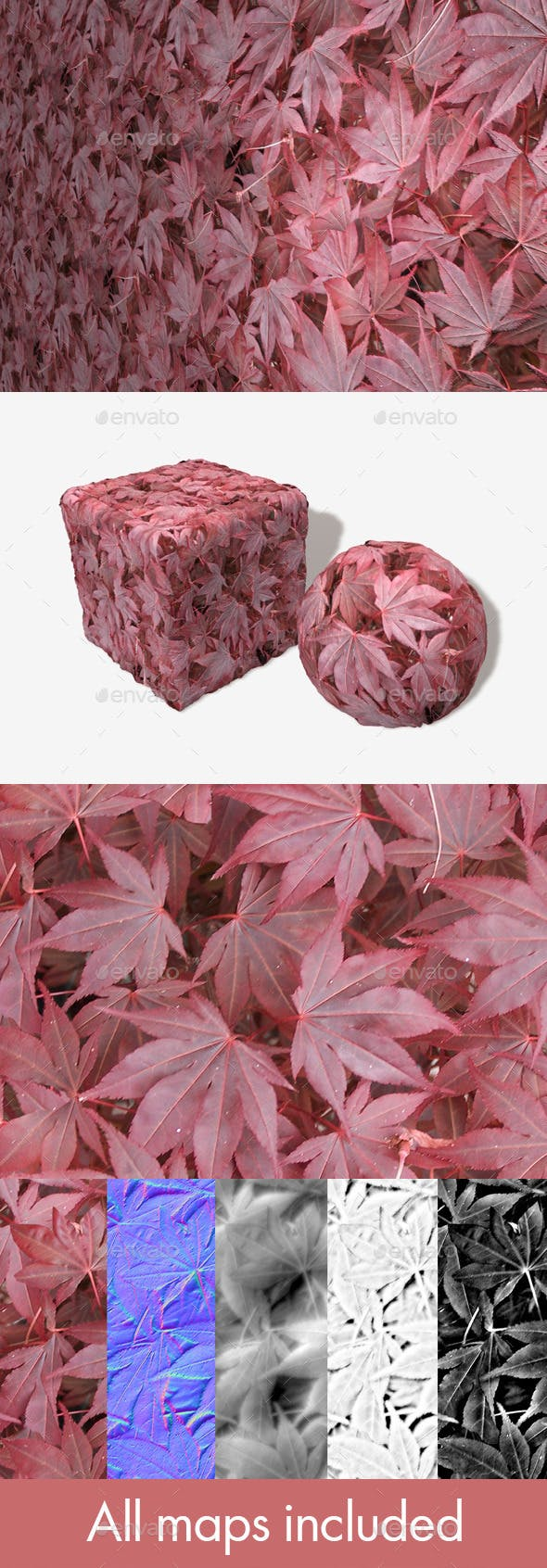 Red Leaves Seamless Texture - 3DOcean Item for Sale