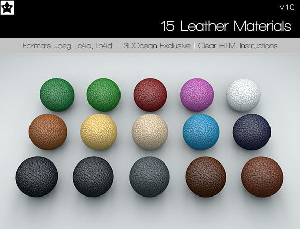 15 Leather Material Pack - 3DOcean Item for Sale